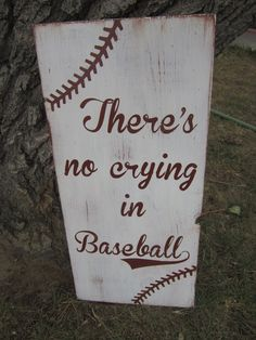 There's no crying in Baseball nursery sign- Hand Painted Distressed Sign. $45.00, via Etsy.