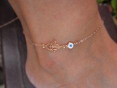 Rose gold vermeil Hamsa hand anklet bracelet with evil eye charm on rose goldfilled  chain