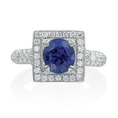 Sapphire halo ring from Armadani, vintage/estate inspired round sapphire with square diamond frame