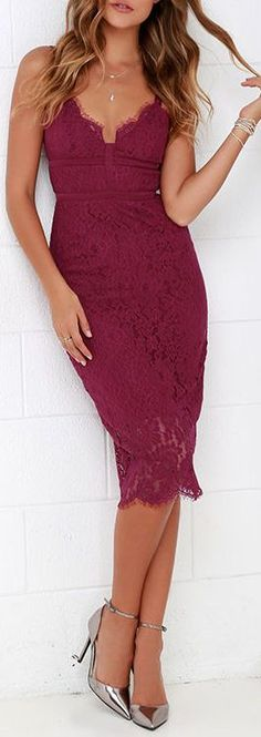 Berry Lace Dress ❤︎   women fashion outfit clothing stylish apparel @roressclothes closet ideas