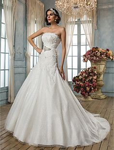 A-line/Princess Strapless Chapel Train Lace Wedding Dress – USD $ 449.99