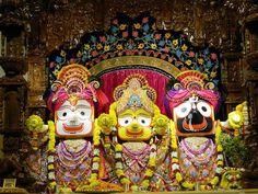 """Sri Sri Jagannath, Baladev and Subhadra at ISKCON NVCC, Pune. """"Jai jagannath swami nayana patha gami bhaba tume"""""""