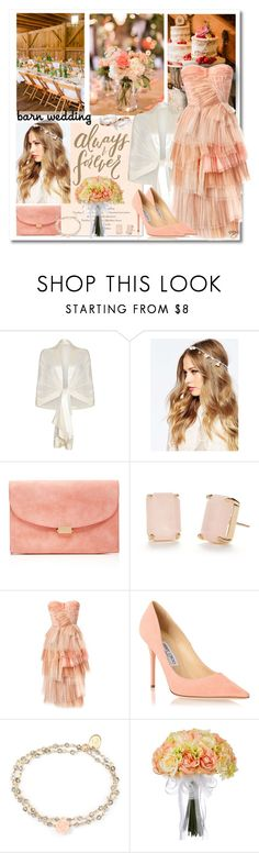 """Barn Wedding Guest"" by nans-g ❤ liked on Polyvore featuring Ghost, ASOS, Mansur Gavriel, Kate Spade, Burberry, Jimmy Choo and OSCAR Bijoux"