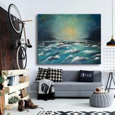 "Original acrylic on canvas home or office wall decor, ready to hang wall artwork. Size: 60x70 cm / 24""x28"". #art #paintings #abstract #acrylic #modern #original #wall #decor #gift #homedecor #abstractpainting #originalpainting #acrylicpainting #canvaspainting #housewarminggift #livingroomwallart #contemporaryart #wallartwork #landscape #seascapepainting #bluepainting #turqoise #sunsetseascape Office Wall Decor, Office Walls, Wall Art Decor, Seascape Paintings, Art Paintings, Original Paintings, Blue Painting, Canvas Home, Wooden Bar"