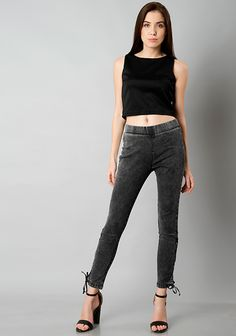 Grey Colored Acid Washed Side Tie Jeggings #Fashion #FabAlley #Jeggings #Party #PartyWear #Bottom