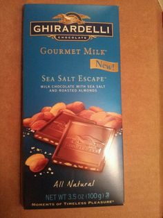 Ghirardelli Chocolate- Sea Salt Escape.  A nutty bar and creamy. There is a slight salty after taste, which is pretty good! The bars are huge too and about $2 at super stop and shop! Def worth a try! @ghirardelli and @influenster!! Thank you so much!