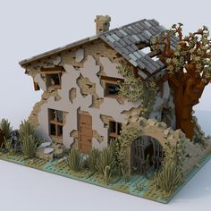 Ruined HouseHello everybody! I'm glad to introduce you my new project on LEGO Ideas, which refers to a rural house featuring an old, battered, wrecked and ruined appearance.I have spent a lot of enjoyable hours building this project with LDD, and. Lego Design, Brick In The Wall, Lego Sets, Lego Haunted House, Lego Ninjago Nya, Lego Mandalorian, Pokemon Lego, Modele Lego, Ruins