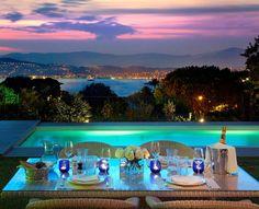 Setting of a romantic honeymoon dinner - the Hotel Du Cap-Eden-Roc in France...OK, I'll go there!!!!