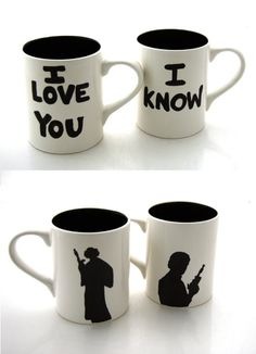 Han Solo and Leia ♥ #StarWars #coffeemugs #coffee #mugs #geek #nerdlove