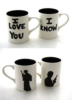 Han and Leia mug set = awesome!!!!!!