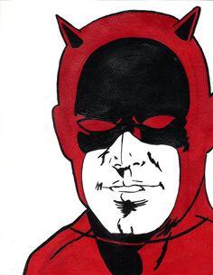 Daredevil original comic book painting