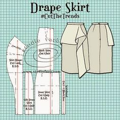 Sewing Skirts This is a great place to start for your drape pattern making journey. Dress Making Patterns, Skirt Patterns Sewing, Pattern Making, Clothing Patterns, Coat Patterns, Blouse Patterns, Sewing Dress, Sewing Clothes, Sewing Coat