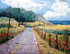 Watercolor  Colores Colors  Beautiful  Art Arte Street Natural Paisaje Cerca Agua Water Mountains Montañas