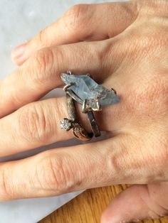 Reclaimed diamond ring and sapphire crystal ring.www.varianceobjects.com