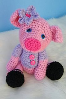 Simply Cute Pig is crocheted with worsted weight yarn, basic crochet stitches and G hook. Skill level = easy, crocheting in the round.