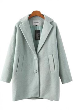 Lapel Long Sleeve Loose Tweed Winter Coat