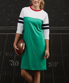 Look what I found on #zulily! Green & White Varsity Stripe Shift Dress #zulilyfinds