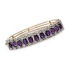 """Ross-Simons - C. 1950 Vintage .75 ct. t.w. Diamond and 9.35 ct. t.w. Amethyst Bangle Bracelet in 14kt Yellow Gold. 6.25"""" - #772733"""