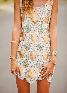 Love Gold And Blue Printed Mini Dress