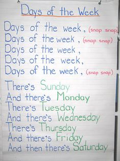 of the Week - adams family song. Loved doing this with my kids during student teaching.Days of the Week - adams family song. Loved doing this with my kids during student teaching. Kindergarten Songs, Preschool Music, Preschool Lessons, Preschool Learning, Kindergarten Classroom, Preschool Activities, Days Of The Week Activities, Preschool Transitions, Kindergarten Circle Time