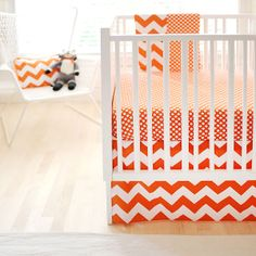 New Arrivals Zig Zag Baby 2 Piece Crib Bedding Set, Tangerine New Arrivals Chevron Baby Bedding, Baby Crib Bedding Sets, Crib Sheets, Crib Mattress, Baby Crib Sets, Baby Cribs, Baby Baby, Orange Bedding, Modern Crib