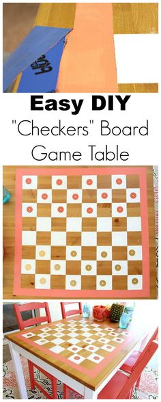 """DIY Outdoor """"Checkers"""" Game Board Table - www.classyclutter.net"""