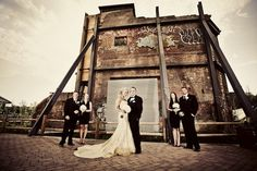Urban glam wedding photography. Bride, groom and their wedding court look so chic!