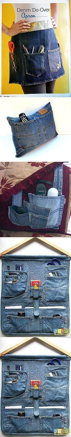 20 Best Old Jeans DIY to recycle old jeans Jean Crafts, Denim Crafts, Artisanats Denim, Jeans Recycling, Jean Diy, Denim Ideas, Sewing Aprons, Old Jeans, Jeans Pants