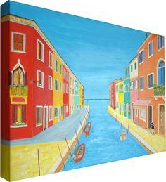 Isola di Burano, Venezia:  Acrilico su tela 40x60 con telaio 4 cm.