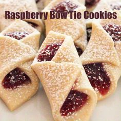 Bow Tie Cookies Delicate cookies filled with raspberry jam or apricot jam. This holiday treat are also called Kolachy or Kolache cookies. Jam Cookies, Filled Cookies, Yummy Cookies, Kolachy Cookies, Bow Tie Cookies, Sugar Cookies Recipe, Chip Cookies, Holiday Cookies, Holiday Treats