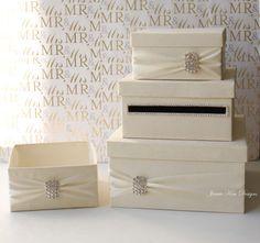 Wedding Card Box Money Holder Custom Made to by jamiekimdesigns, $32.00