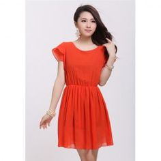 $10.09 Flounce Sleeves Scoop Neck Solid Color Chiffon Sweet Style Dress For Women