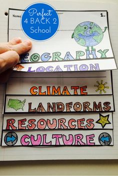 This activity pack is perfect for introducing and reviewing geography skills through creative hands-on activities. Students will love creating this geography flip up book! 6th Grade Social Studies, Social Studies Resources, Social Studies Projects, Social Studies Classroom, Teaching Social Studies, Elementary Social Studies, Elementary Education, 5th Grade Geography, Teaching Geography Elementary