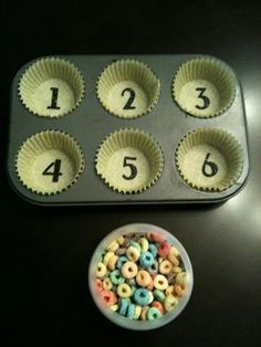 For the Love of Learning: DIY Counting Activity - Simple & Educational  Love the idea of muffin tin inserts so that you can easily switch out the skill.