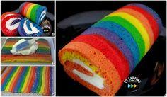 Cómo hacer Rainbow cake roll. Queda precioso, no necesita mas decoración que solamente el corte. Rainbow cake roll Queda muy bonito hacerlo de solamente do