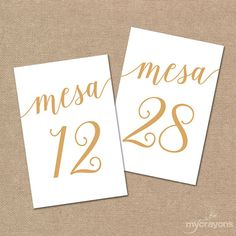 Numeros de Mesa 1-30 Spanish Table Numbers // by MyCrayonsDesign