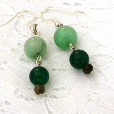 Quartz Earrings Dark Green and Lite Green by marilyn1545 on Etsy, $15.00