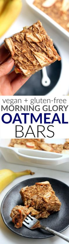 These Morning Glory Baked Oatmeal Bars are a tasty, filling, nutrient-dense breakfast packed with whole grains and warm fall flavors. They also make a great grab-and go snack that's kid-approved! Vegan and gluten-free.