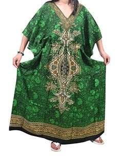 Green Long Kaftan Dress Dashiki Printed Beach Cover up Caftan for Women Mogul Interior http://www.amazon.com/dp/B0136LPWYI/ref=cm_sw_r_pi_dp_K9B8vb05EG3PS