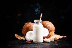 coconut milk in a glass bottle