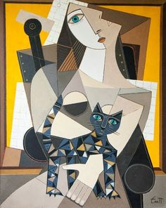 I'm Lisa — (via Emanuil Popgenchev Cubist Paintings, Cubist Art, Abstract Art, Arte Pop, Picasso Cubism, Sans Art, Geometric Art, Figurative Art, Collage Art