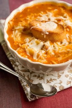 Paula Deen Lasagna Soup!!! Yes please :) You would definitely need some bread with this one.