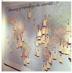 Pra quem ama viajar, que tal marcar todos os lugares que você já foi e aonde quer ir num mapa e colocar na parede do quarto. Fica lindo e te lembra todo dia das suas metas! :D
