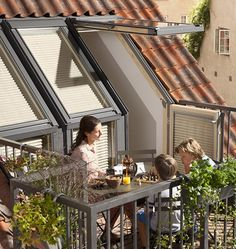"""Roof balcony"" by Velux with standard improved thermal insulation - Dachboden Roof Balcony, Balcony Window, Roof Window, Loft Conversion Guide, Loft Conversion Balcony, Attic Renovation, Attic Remodel, Attic House Design, Roof Terrace Design"