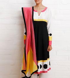 Multicoloured Katan Silk Kurta Churidar Set