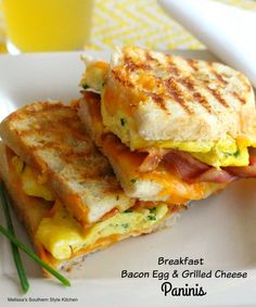 Breakfast Bacon Egg and Grilled Cheese Paninis - sub healthier bread - Make ahead in panini press only til cheese melts- but not browned - then freeze. Remove from freezer - pop into panini press for min while getting ready - BOOM! Breakfast Panini, Breakfast Sandwich Maker, Bacon Breakfast, Breakfast Dishes, Breakfast Time, Breakfast Recipes, Breakfast Ideas, Grilling Recipes, Cooking Recipes