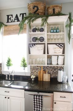 Black white green Christmas kitchen tour