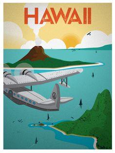 Vintage Hawaii Print $15 #vintage #travel #posters #illustration