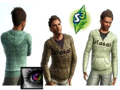 Sims 3 outfit, hoodie, clothing, male