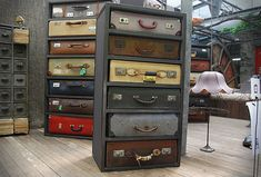 English designer James Plumb created these suitcase drawers, they are assemblages of unique pieces. Old suitcases are housed in antique steel and tailor-made wood chests, to form a series of unique chests of drawers. Every suitcase is refurbished ins Upcycled Furniture, Unique Furniture, Diy Furniture, Retro Furniture, Refurbished Furniture, Geometric Furniture, Furniture Design, Folding Furniture, Furniture Stores